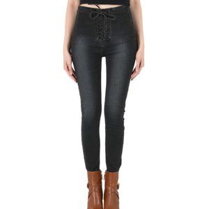 Free People high waisted lace up black jeans